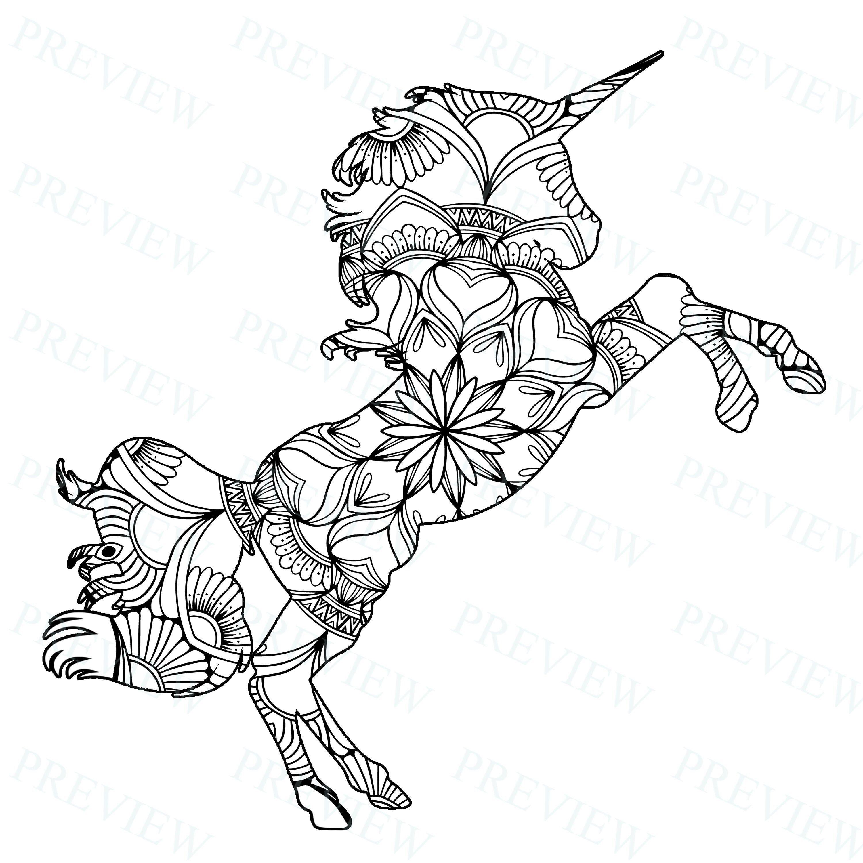 10 Mandala Unicorn Mandala Coloring Pages Commercial License