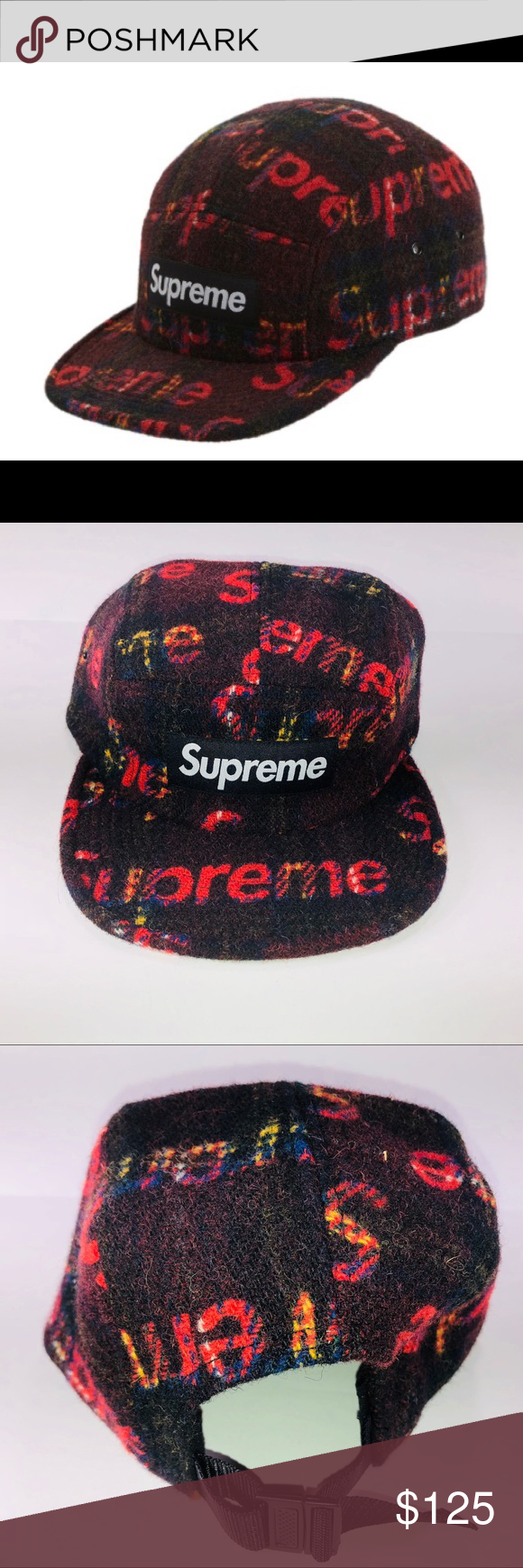 66fb771aca5ca Supreme Harris Tweed Camp Cap Red Plaid FW18 H11 One Size Supreme  Accessories Hats