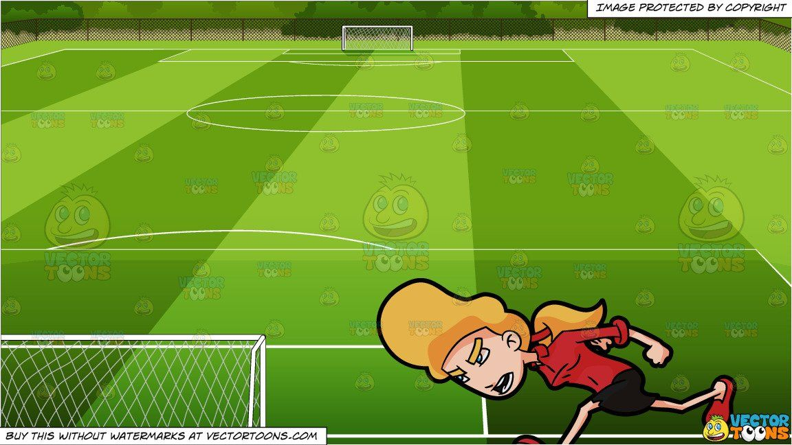A Woman Charging Head On In Anger And Soccer Field Background Women Soccer Field Anger