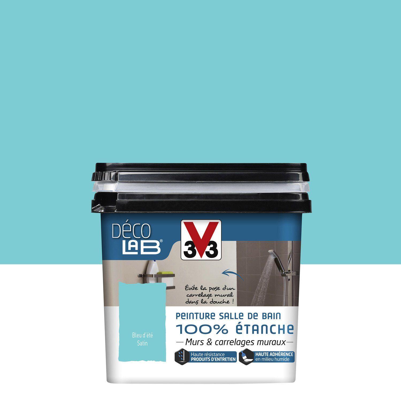 Peinture Décolab 100% étanche V33, Bleu d\'été, 0.75 l | Leroy Merlin ...