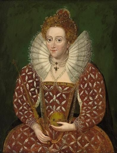 Queen Elizabeth I, in a richly embroidered and bejewelled red dress, holding an orb and sceptre by a follower of Federico Zuccaro.