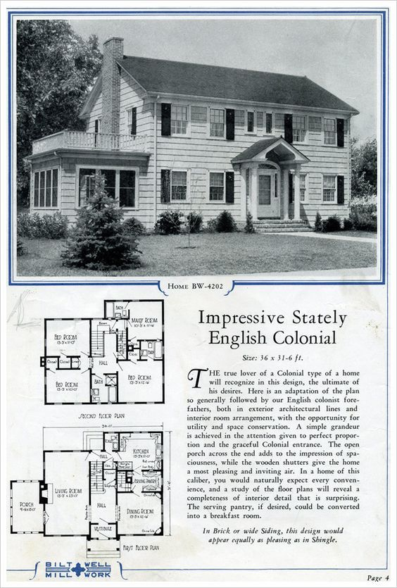 Surprisingly Modern Given It S From A 1924 Collection No Modifications Needed Colonial House Plans Vintage House Plans Colonial House