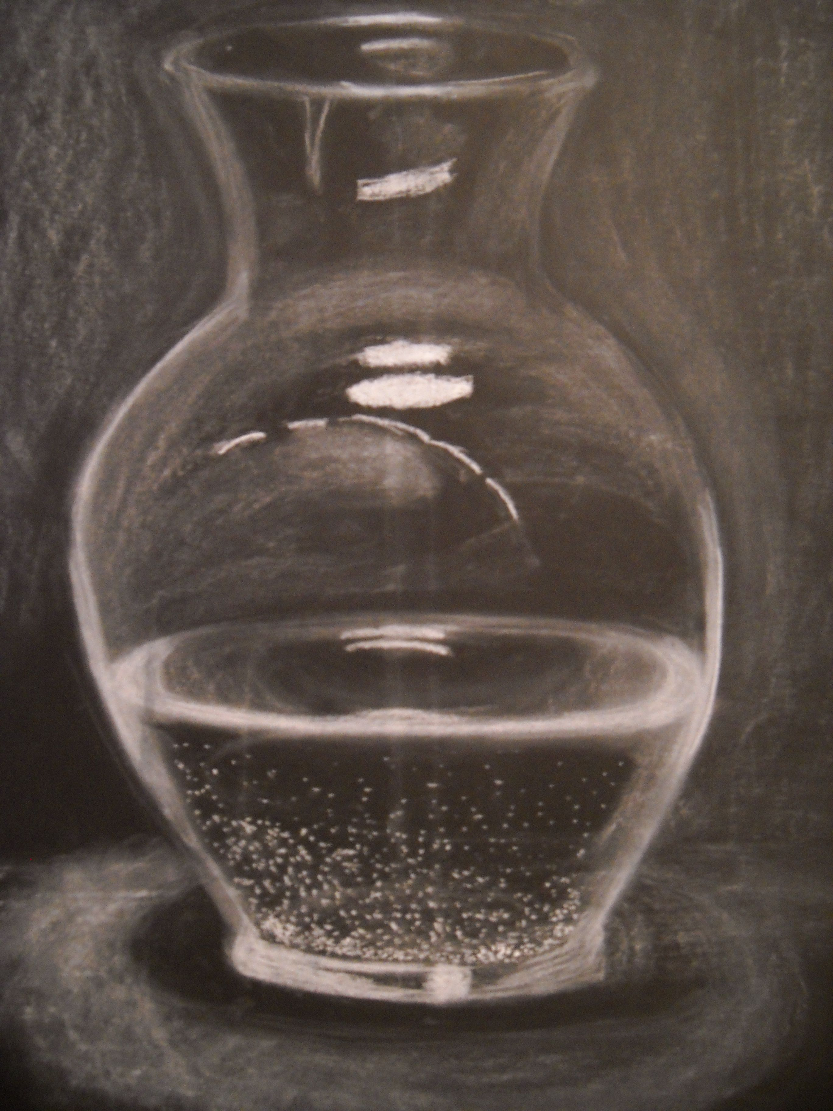 Glass Vase Filled With Water Done In White Chalk On Black Drawing Paper My Artwork
