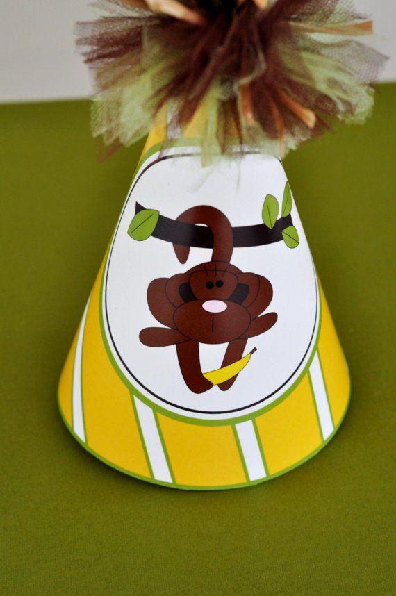 Monkey Party Hat PRINTABLE by lovetheday on Etsy,