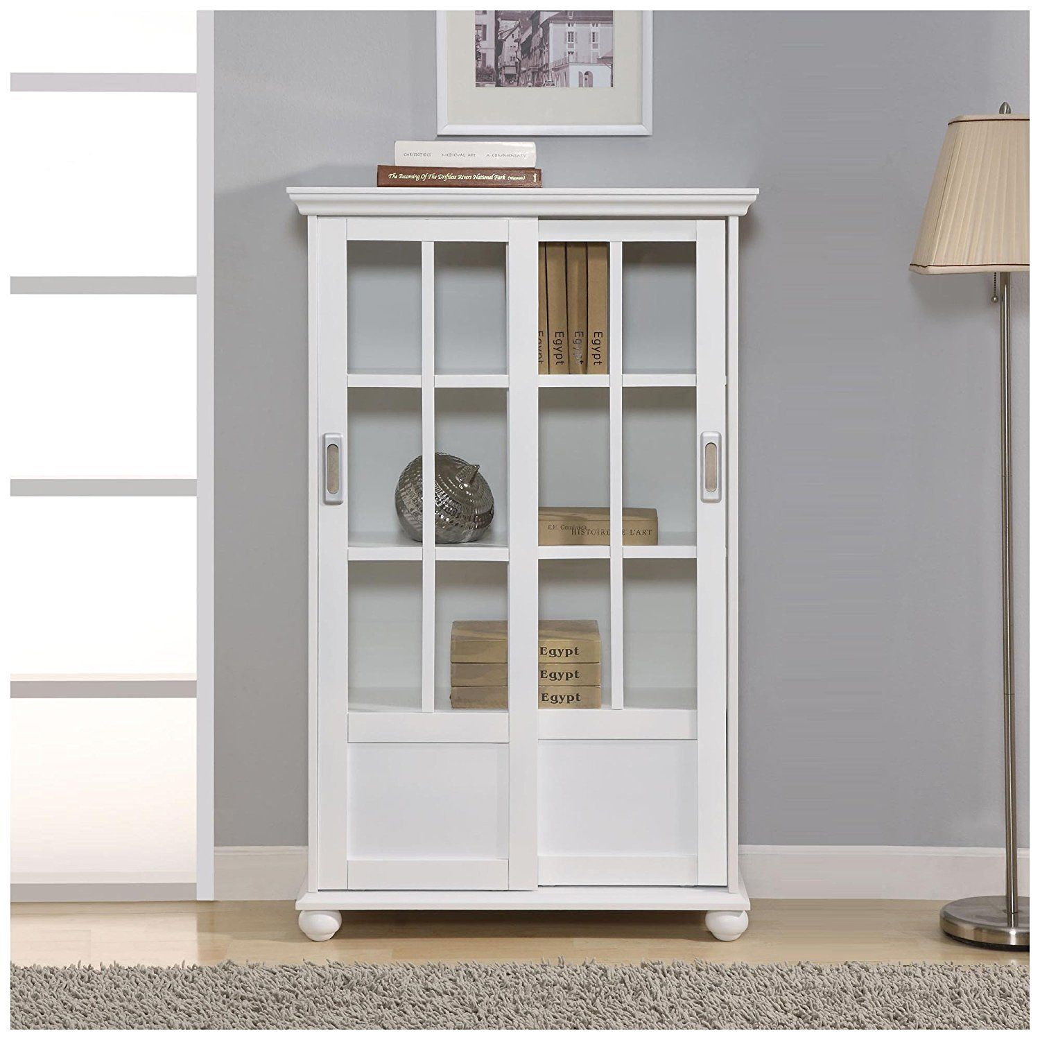 White Bookcase With Glass Doors Sale Best Spray Paint For Wood