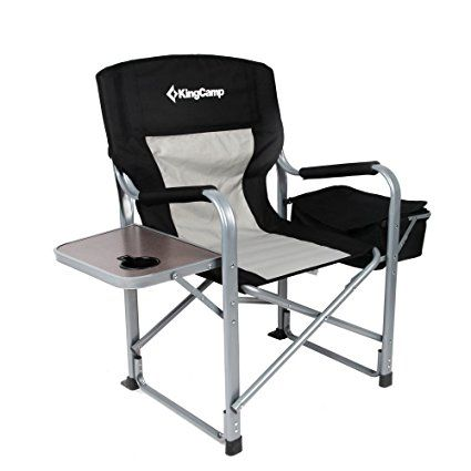 Kingcamp Heavy Duty Steel Folding Chair Director S Chair With Cooler Bag Portable Camping Chair Folding Camping Chairs Camping Table