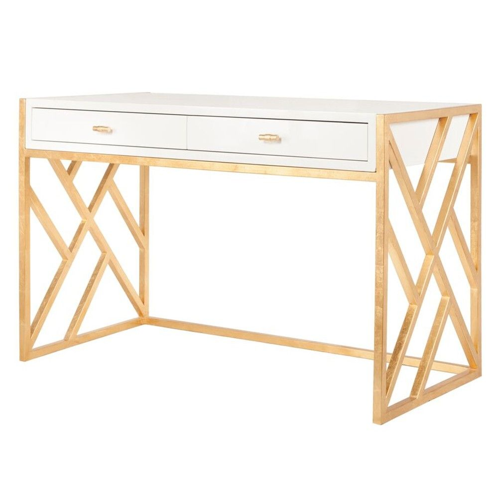 Interior Homescapes Offers The Cordelia White Lacquer Desk With Gold Leaf Lattice Base By Worlds Away Visit Our Online To Order Your