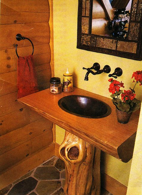 Log Home Pedestal Sink Shaped Like A Log | rustic house | Pinterest ...