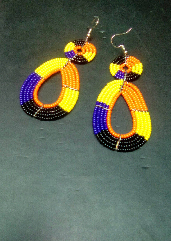 Tribal earrings Ethnic jewelry beaded earrings Masai earrings african jewelery big earrings Set of 2 African earrings,Masai Shop