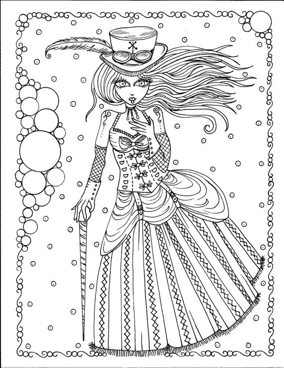 Steampunk Girls Coloring Book Page Fantasy Fantasie Fantasia Fantasi Colouring Adult
