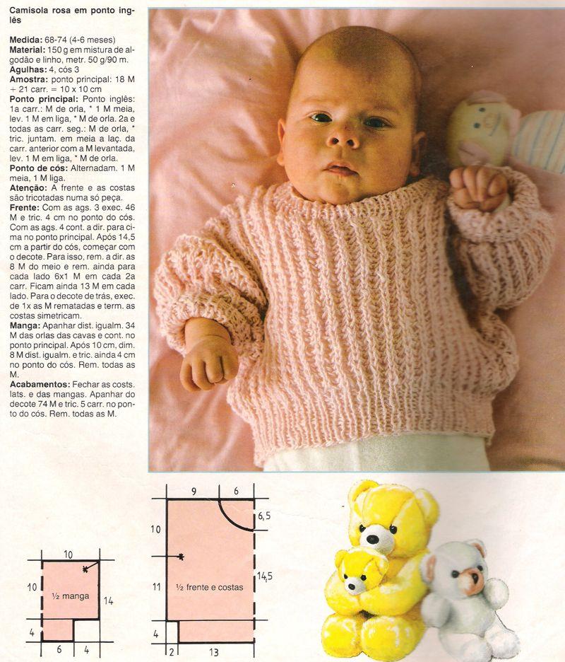 Receita Tricô Fácil Blusas em tricô para Bebê com receita Revista tricô  receita completa Revista online 28336b0e62a