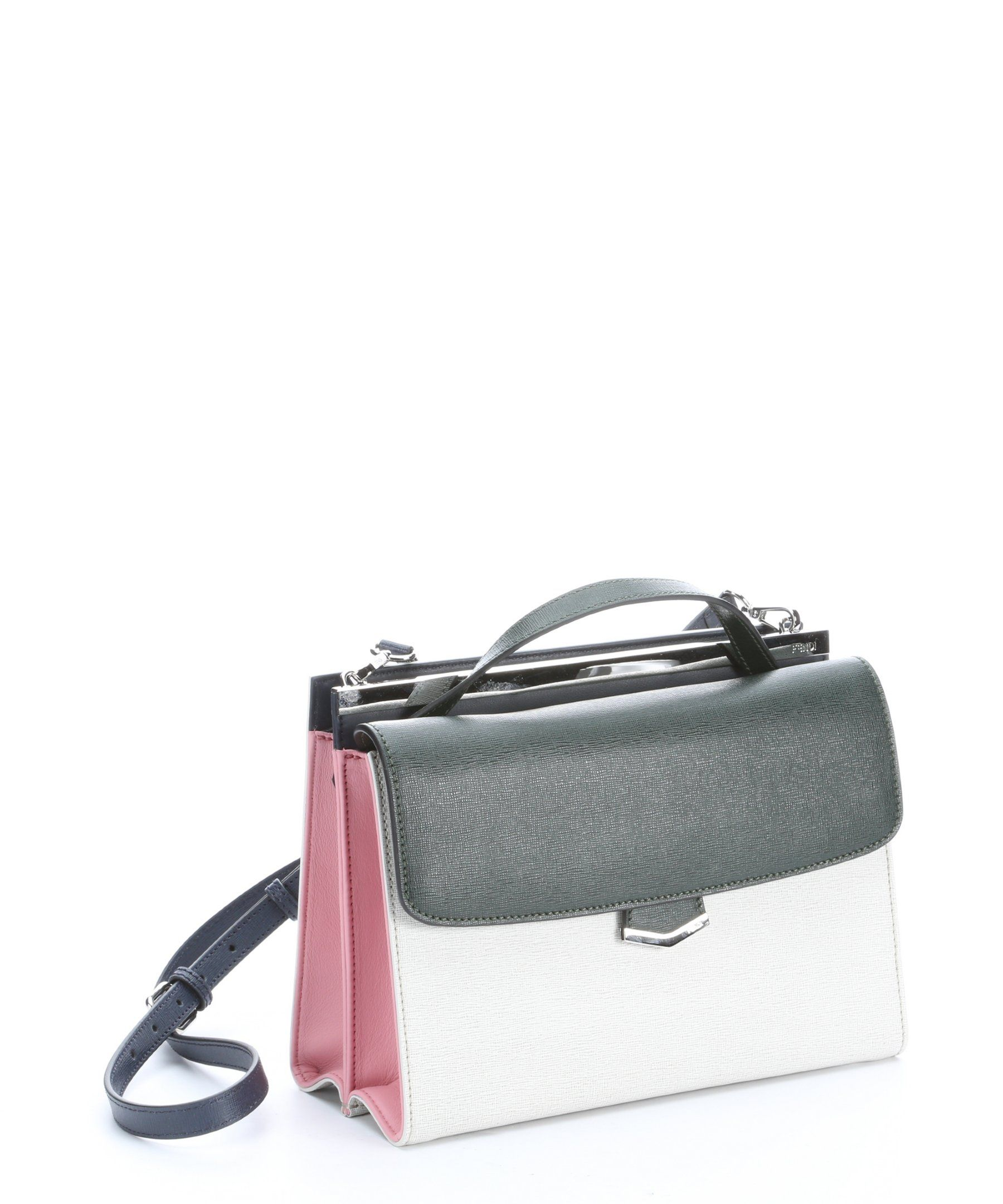 738db2d634 Fendi green, white, and red leather 'Demi Jour' split shoulder bag |  BLUEFLY up to 70% off designer brands