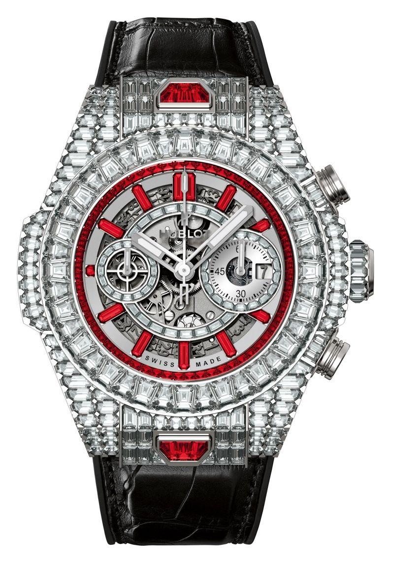 Hublot Big Bang Unico 10 Years Haute Joaillerie - white diamonds and rubies - priced at $1 million!