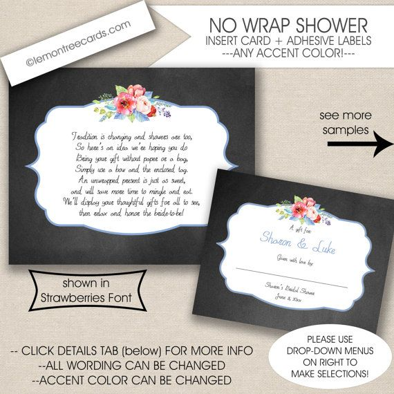 printed display shower insert card and label set no wrap baby shower no wrap bridal shower chalk