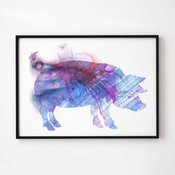 Pig Watercolor Colorful Decor Animal Print Printed On High