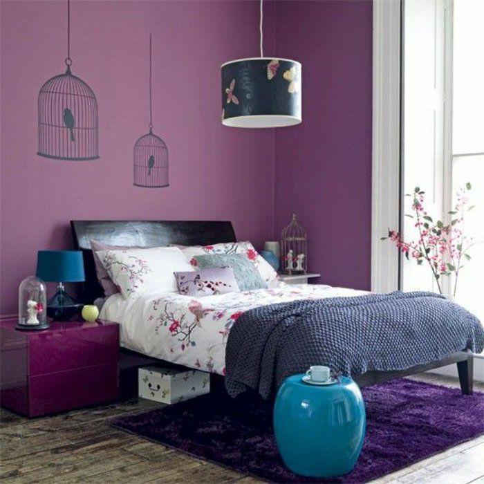Murs Couleur Prune, Chambre A Coucher Avec Interieur Violet, Tais Violet  Pour La Chambre A Coucher