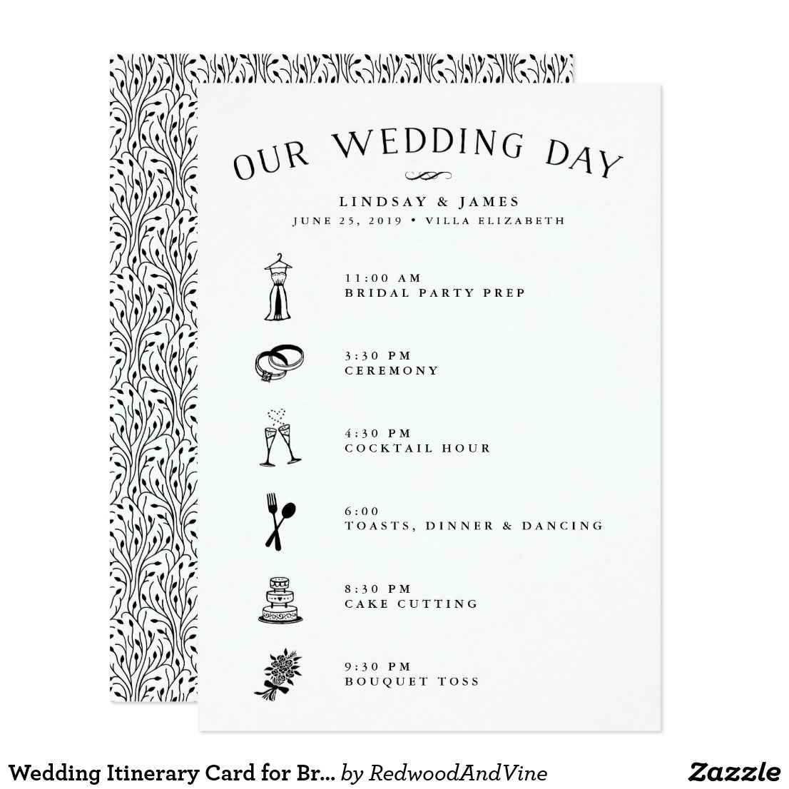 Wedding Itinerary Card For Bridal Party  Vendors Keep Your