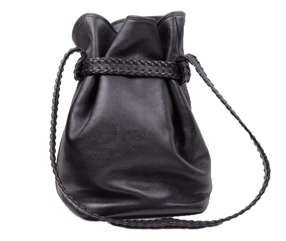 Barry Kieselstein-Cord Black Leather drawstring bag silver ...