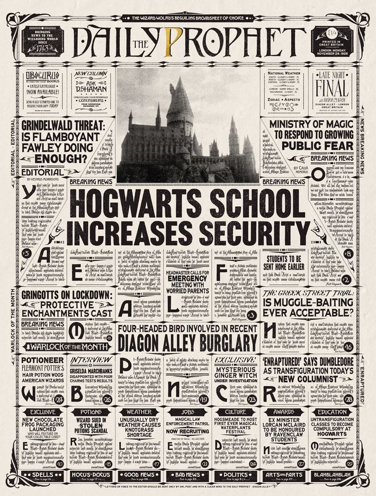 The Daily Prophet is a wizarding newspaper based in London. It is the primary… | Displate thumbnail