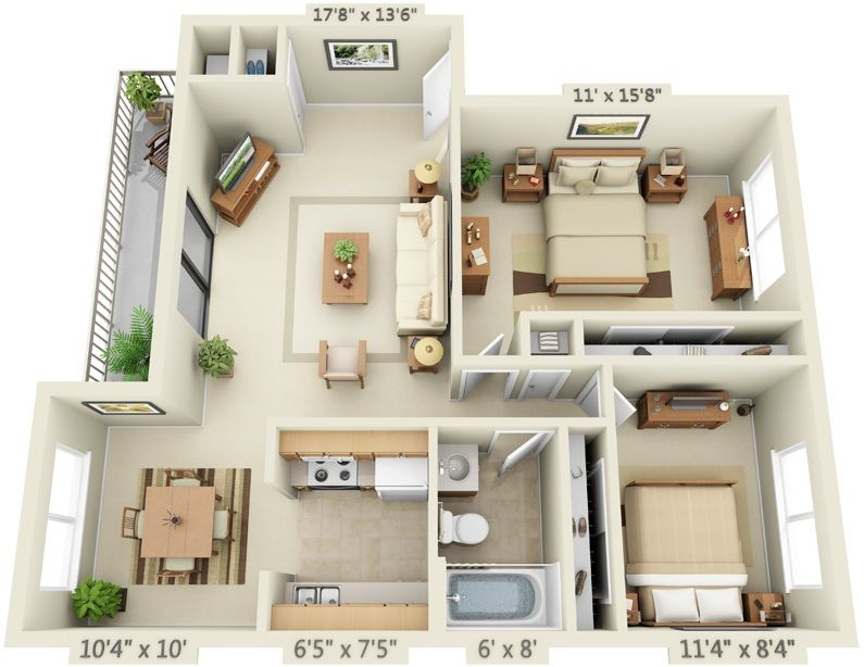2 Bedroom 1 Bathroom Layout Small House Plans House Plans Sims House Plans