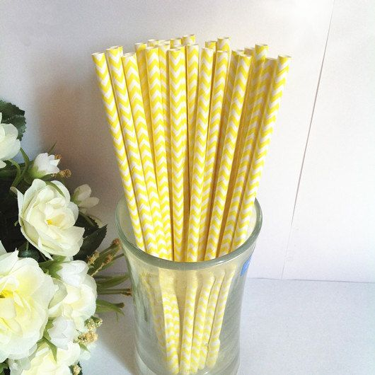 Paper Straws 50 Yellow Chevron White Paper by PartySupplier4U, $7.95