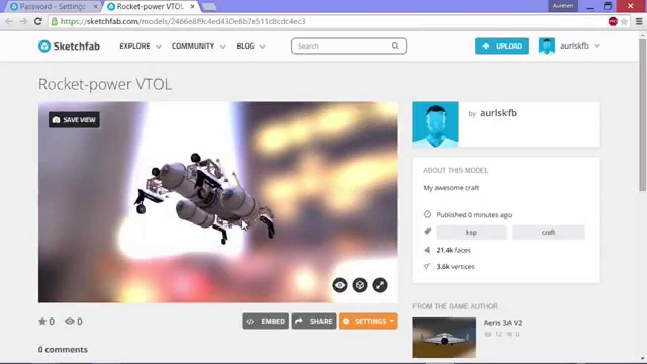 How to publish your Kerbal Space Program craft to Sketchfab   www