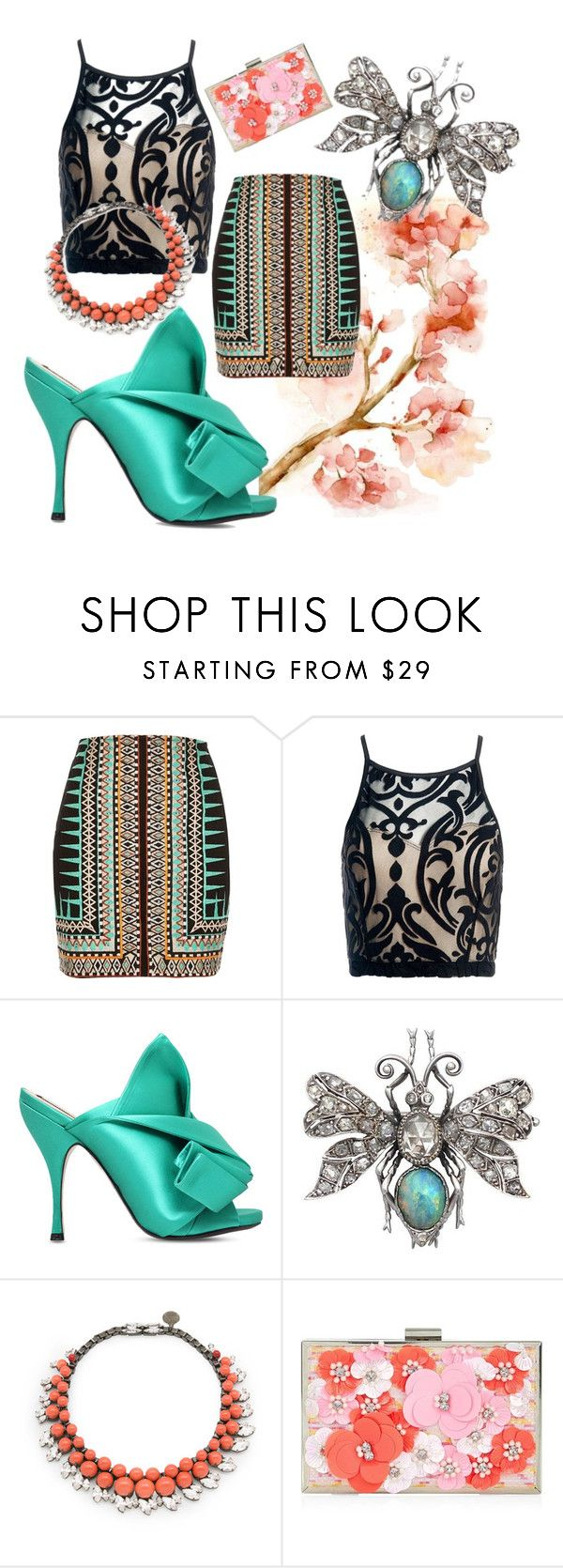 """""""Aqua Blossom"""" by anypalacios ❤ liked on Polyvore featuring River Island, Sans Souci, N°21, Ellen Conde and New Look"""