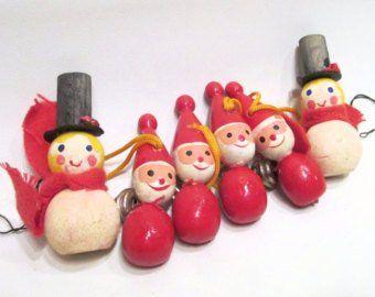 6 Vintage German Christmas Ornaments 4 Tiny Handmade Wood Figures And 2 Snowmen Retro Xmas Decor West Germany