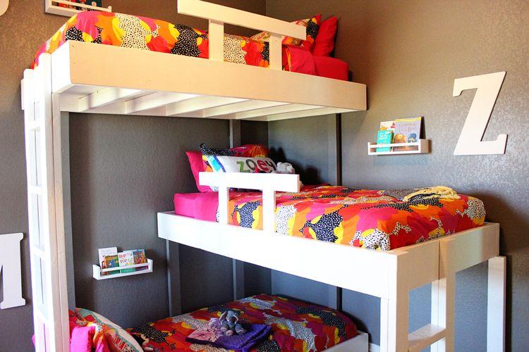 Triple Bunk Beds With Plans Home Ideas Triple Bunk Beds Bunk