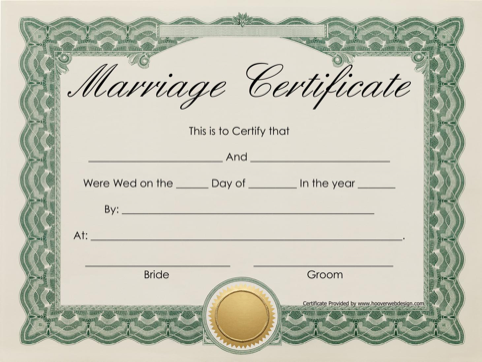 Marriage Certificate  TemplatesForms    Certificate