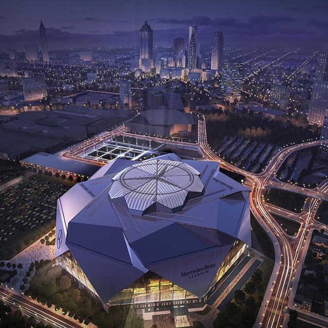 Beautiful stadium being built downtown love watching it for Mercedes benz football