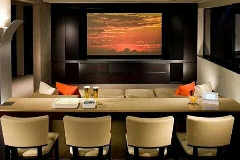 Modern Cream And Black Movie Room Small Home Theaters Home Theater Seating Home Theater Rooms