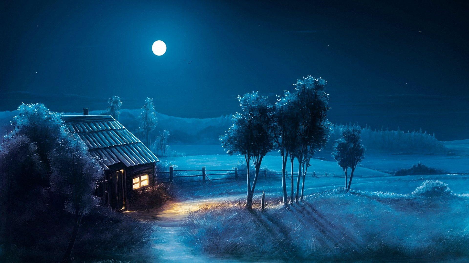 Blue House Moonlight Full Moon Fantasy Art Fantasy Landscape Night Darkness Moon 1080p Wallpaper Hdwal In 2020 Fantasy Landscape Tree Hd Wallpaper Fantasy Art
