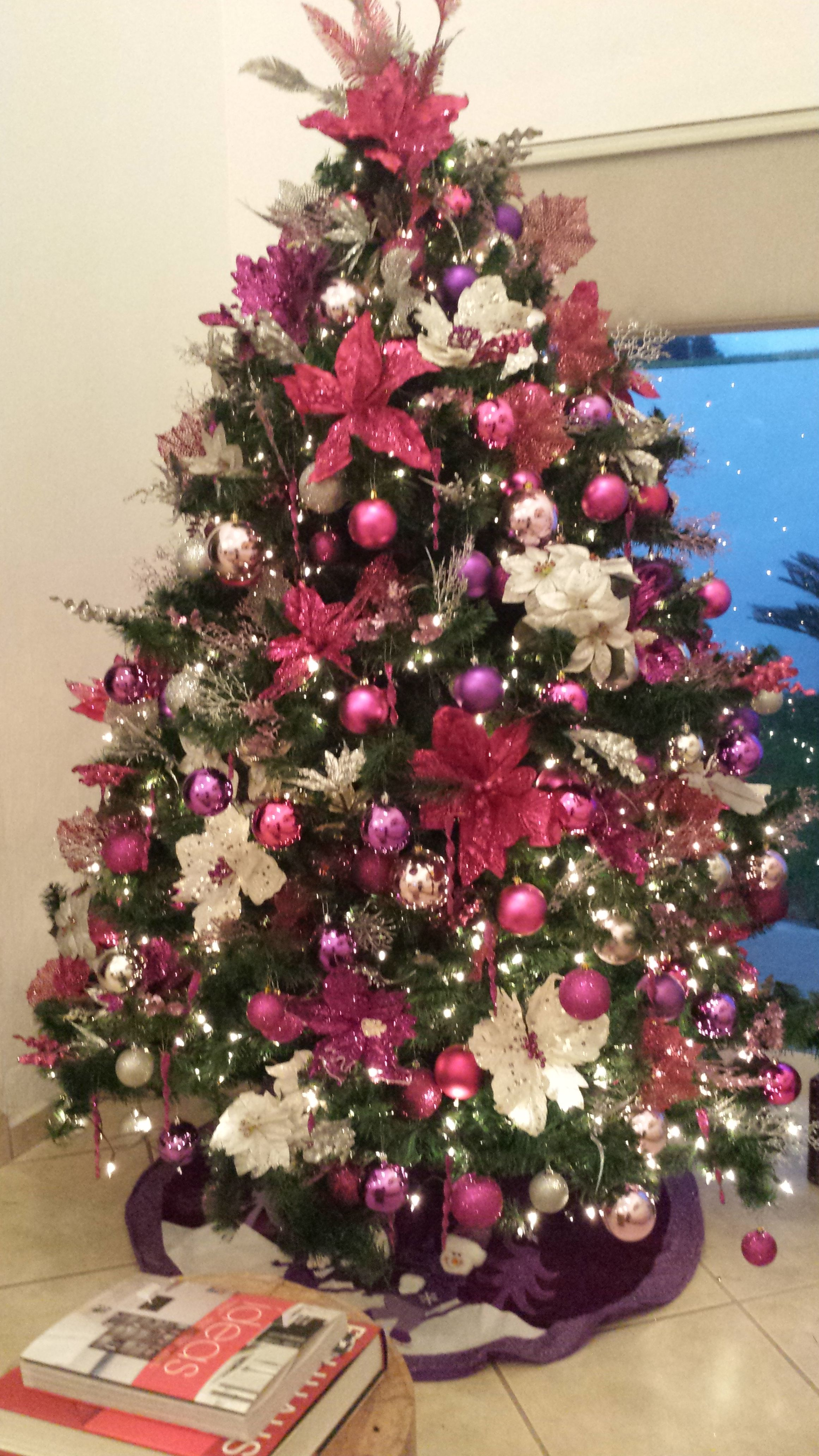 Christmas Tree Silver Purple Magenta Love It Pink