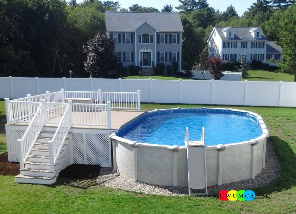 Swimming pool pool decks gorgeous deck stairs for above for Above ground pool ladder ideas