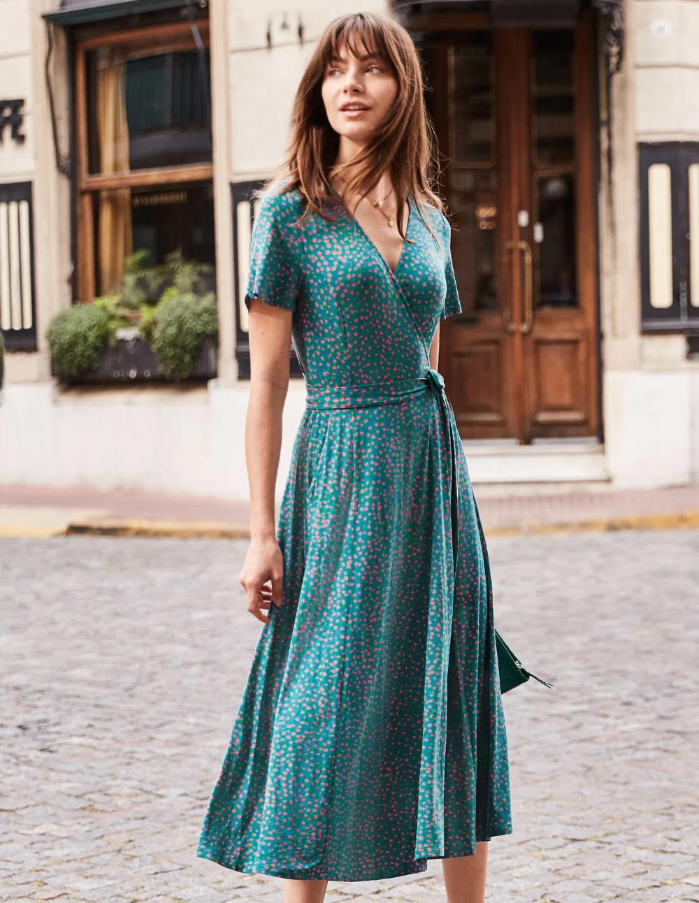 Cassia Jersey Midi Dress Vibrant Teal Speckle Stylish Midi Dress Midi Dress Casual Dress Outfits [ 1292 x 1000 Pixel ]