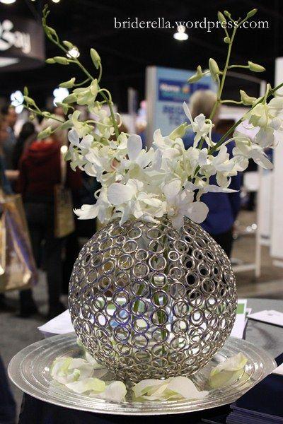 Metal sphere wedding centerpiece tropical yet modern