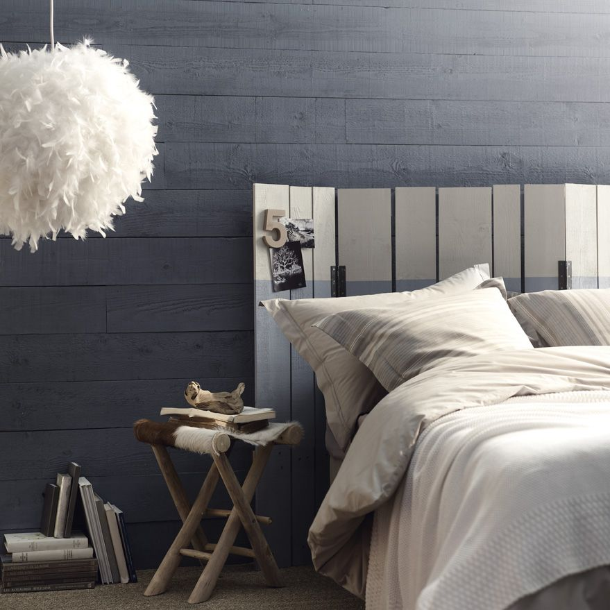 Tête de lit originale   Room : Bedroom   Tête de lit en lambris, Lit ...