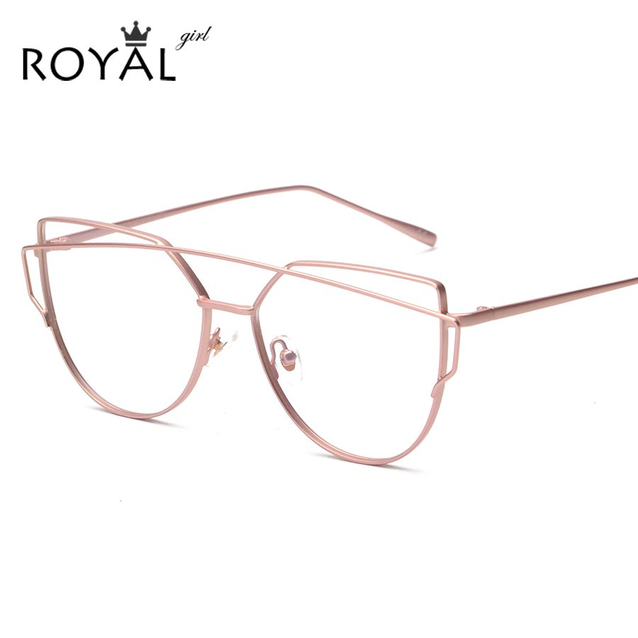 ROYAL GIRL Women Cat Eye Eyewear Frames Twin-Beams Women Optical ...