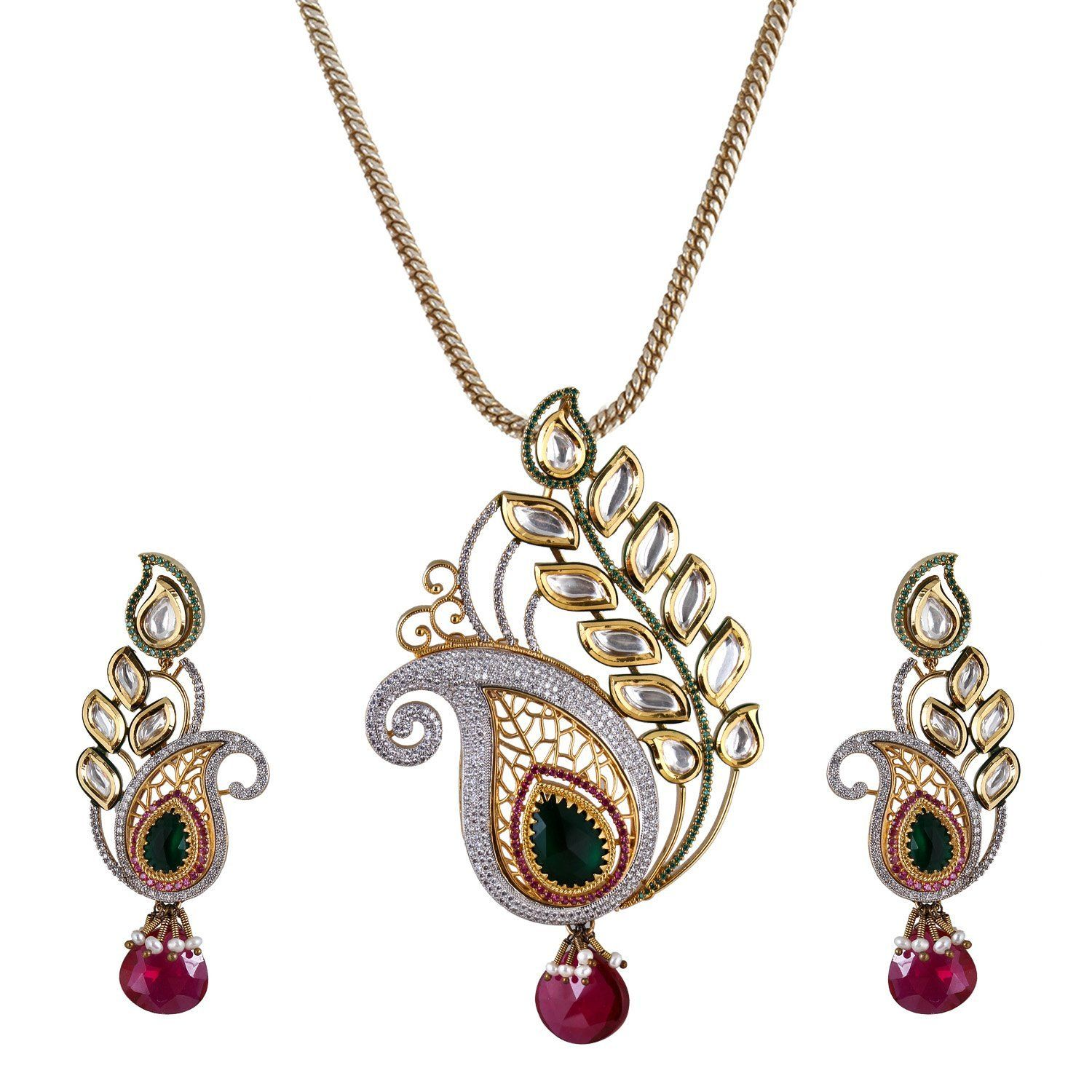 Be you graceful kundan meena fusion style rhodium plated earring and
