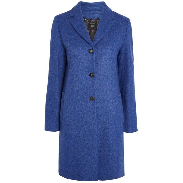 Weekend Maxmara Apotema Coat Cornflower Blue 420 Liked On Polyvore Featuring Outerwear Coats Wool Blend Coat Blue Sport Clothes Design Coat Print Coat