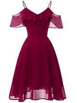 LaceShe Frauen Flowy Strapless Schulter Chiffon Kleid – XL / Burgund