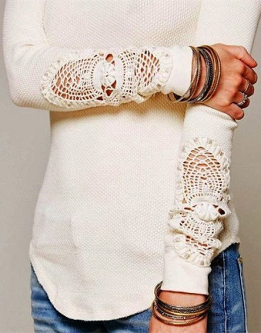 Casual Solid Color Hollow Out Crochet Long Sleeve T-Shirt For Women