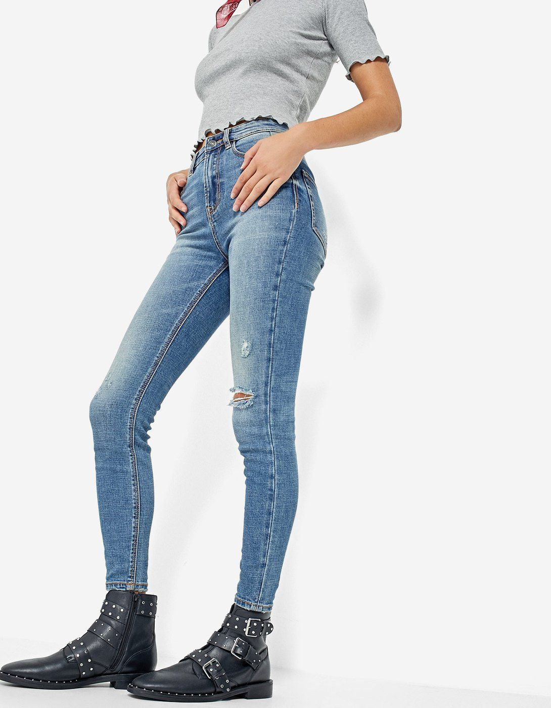 Denim Super High Waist Jeans Stradivarius Espana Ropa Jeans Denim