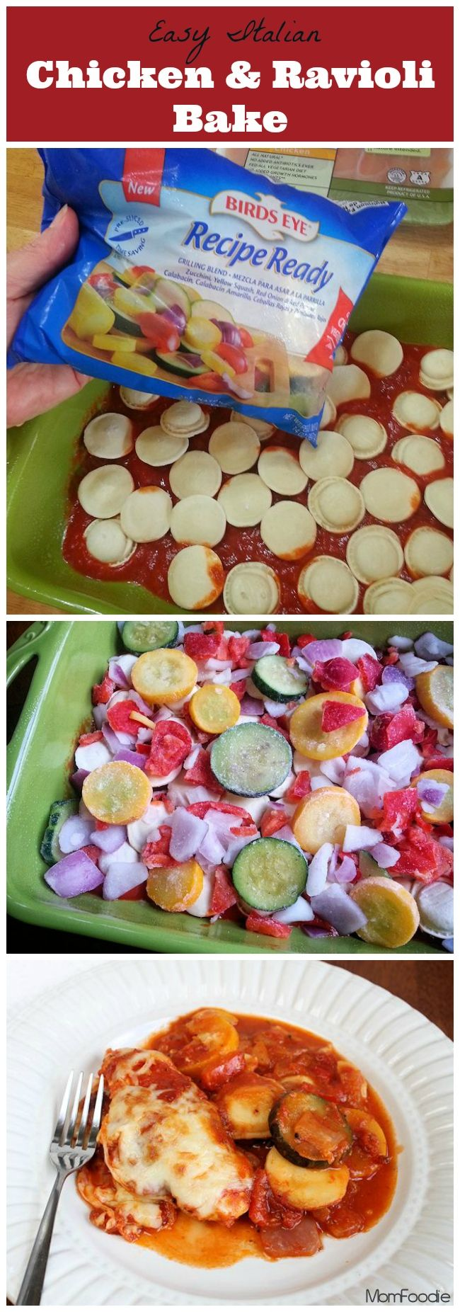 Easy Italian Chicken & Veggie Ravioli Bake - Mom Foodie