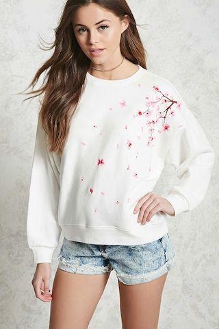 Sweatshirt à imprimé de cerisier