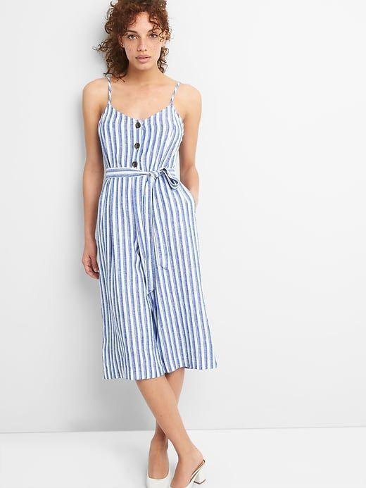 2a68ac55c175 Gap Womens Linen Cami Jumpsuit Blue   White Stripe