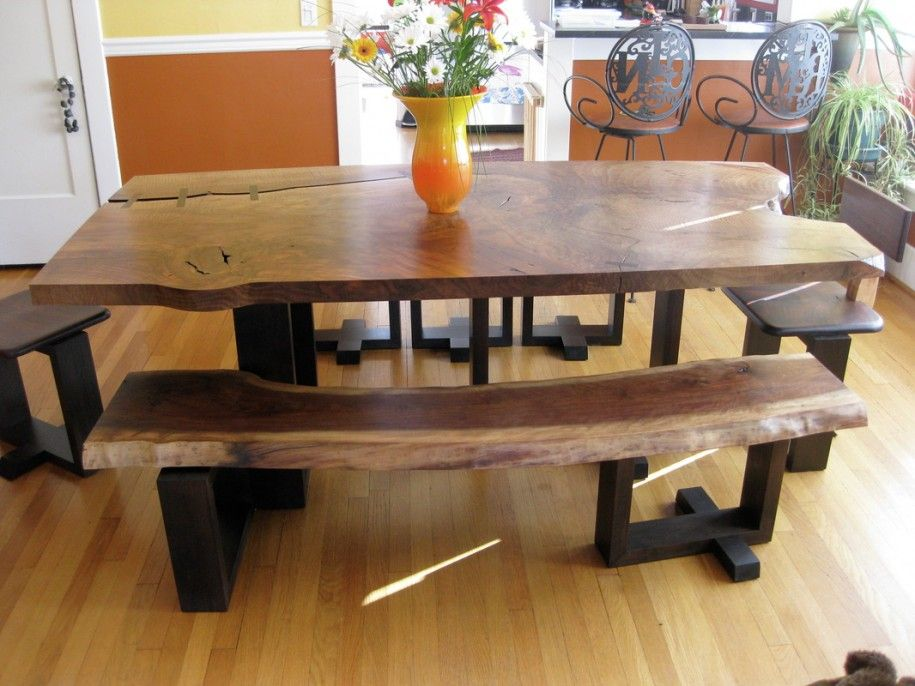 Beautiful Dining Room Table with Bench Arouses Warm Atmosphere ...