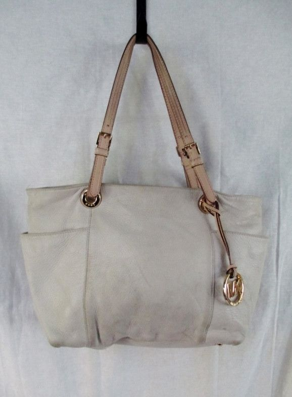 5fcd54fa197a0 MICHAEL KORS F-1112 Leather Tote Carryall Satchel Purse CREME WHITE ...