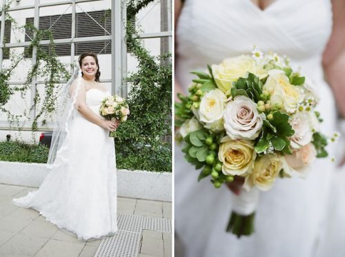 Designed by Fresh Weddings by CarryAnn http://freshweddingsbycarryann.com roses, garden roses, berries, and greens Photo by  jHenderson Studios Photography
